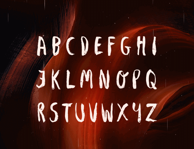AVENE Free Brush Font uppercase
