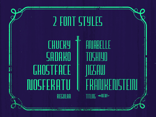 Furgatorio free font regular and titling styles