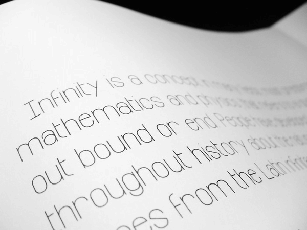 Infinity free font in use
