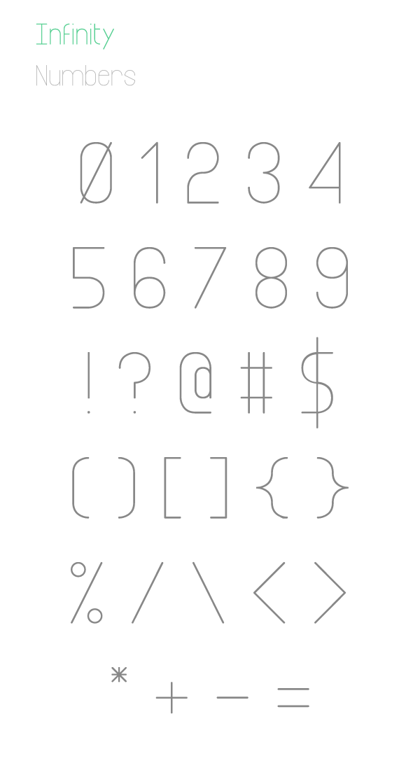 Infinity free font numbers