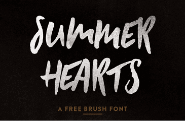 Summer hearts hand painted font